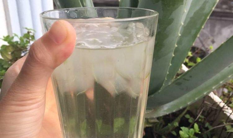 Thành quả sau khi làm là 1 cốc nước Nha Đam hương dứa tươi mát